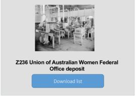 Union of Australian Women Federal Office deposit