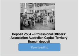 Professional Officers' Association Australian Capital Territory Branch deposit