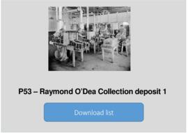 Raymond O'Dea Collection deposit 1