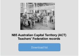 Australian Capital Territory (ACT) Teachers' Federation records