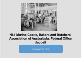 Marine Cooks, Bakers and Butchers' Association of Australasia, Federal Office deposit