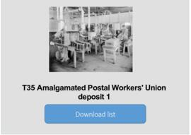 Amalgamated Postal Workers' Union deposit 1