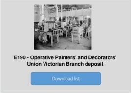 Operative Painters' and Decorators' Union Victorian Branch deposit