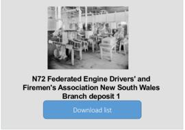 Federated Engine Drivers' and Firemen's Association New South Wales Branch deposit 1